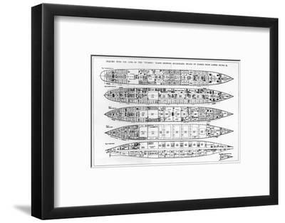 Inquiry in the Loss of the Titanic: Cross Sections of the Ship (Engraving) (B/W Photo)
