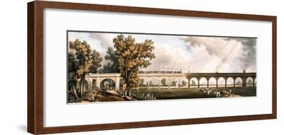 London to Greenwich Railroad Showing the Viaduct, Engineered by George Landman (Colour Litho)