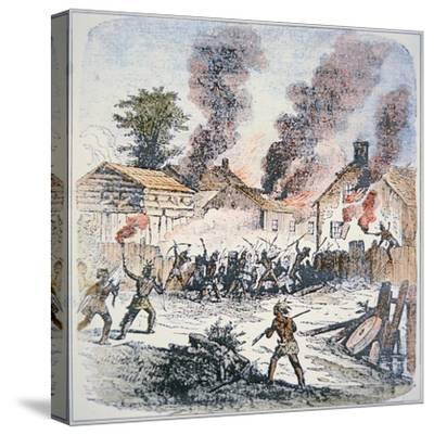 Nipmuc Indians Attack the Settlement of Brookfield, Massachusetts in August 1675