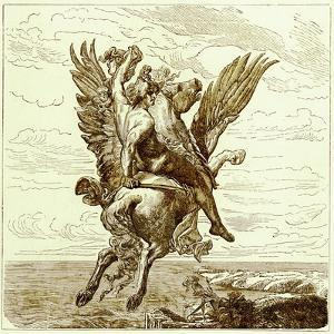 Perseus on the Winged Horse Pegasus, with Medusa's Head by English