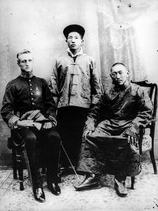 13th Dalai Lama, Sir Charles Bell and Maharaj Kumar Sidkeong Trul-Ku, 1910 by English Photographer