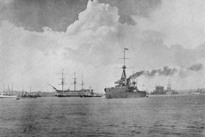 A Century Between: The Dreadnought Steaming Past the Victory, Illustration from 'The Graphic',…