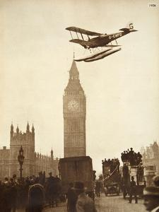 Alan Cobham Coming in to Land on the Thames at Westminster, London, 1926 by English Photographer
