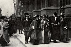 Emmeline Pankhurst Carrying a Petition from the Third Women's Parliament to the Prime Minister by English Photographer