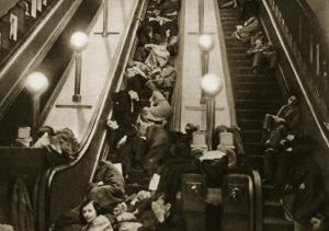 Londoners Seek Shelter from the Bombs in the Underground, 1940 by English Photographer