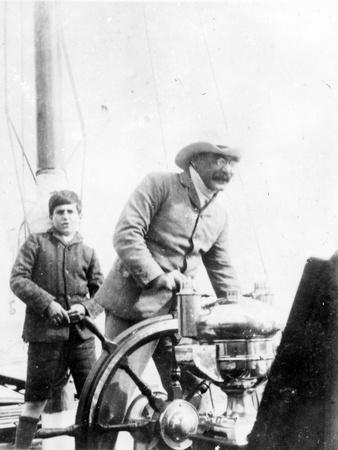 Rudyard Kipling and His Son John on the Yacht 'Bantam', c.1910