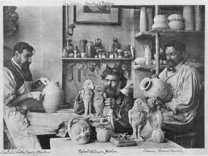 The Martin Brothers in the Studio at the Southall Pottery (B/W Photo) by English Photographer