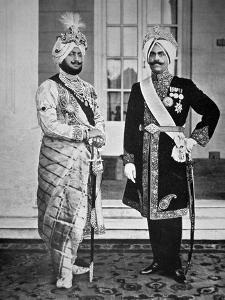 Two Sikh Princes of the Punjab, 20th July 1918 (B/W Photo) by English Photographer