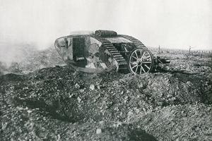 WWI British Tank in Action on the Western Front, 1917 by English Photographer