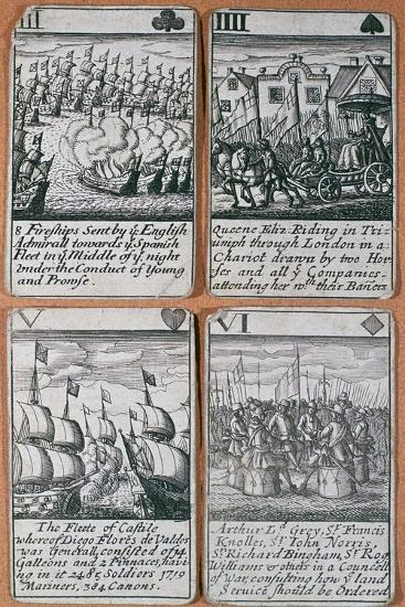 English playing cards commemorating defeat of the Spanish Armada (8 August 1588)-Unknown-Giclee Print