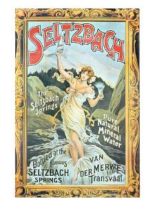 Poster Advertising 'Seltzbach' Pure Natural Mineral Water from the Seltzbach Springs by English