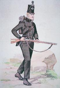 Private of the 95th Rifles, C.1810, Armed with the Baker Rifle, Designed by Ezekiel Baker of London by English