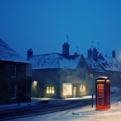 English Red Telephone Booth, in Snow-Andrew Lockie-Photographic Print