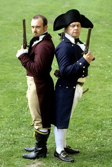 English Regency Period Duellists, 1820, Naval Officer and Civilian, Historical Re-Enactment--Giclee Print