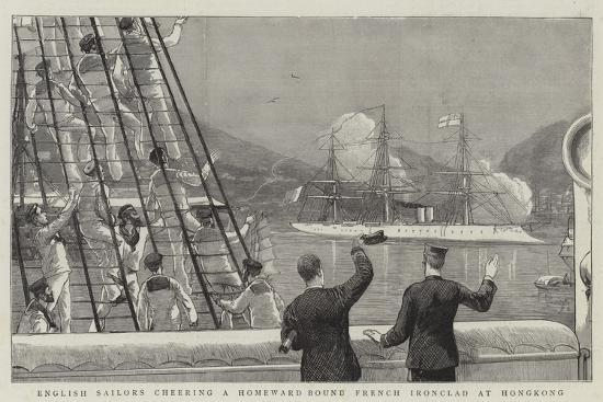 English Sailors Cheering a Homeward Bound French Ironclad at Hongkong--Giclee Print