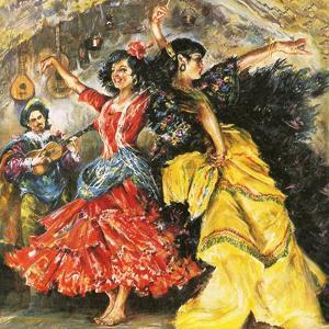 Flamenco Dancers by English School