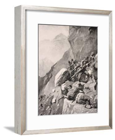 Italian Troops Levering Boulders Down onto Enemy Soldiers in the Dolomities, 1915, from 'The War…