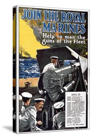 'Join the Royal Marines - Help to Man the Guns of the Fleet', World War I Recruitment Poster