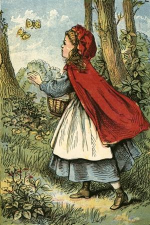 Little Red Riding Hood Catching Butterflies