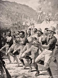 Maori Soldiers Perform a Haka at Gaba Tepe on the Gallipoli Peninsula Turkey 1915, from 'The War… by English School
