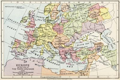 Map of Europe at the Time of the Third Crusade, 1190, from 'Historical Atla