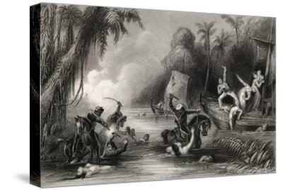 Massacre in the Boats Off Cawnpore in 1857, from 'The History of the Indian Mutiny', Published in…