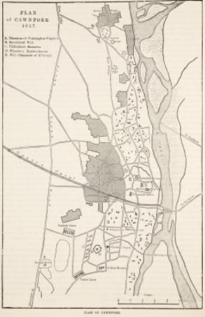 Plan of Cawnpore 1857, from 'Cassell's Illustrated History of England'
