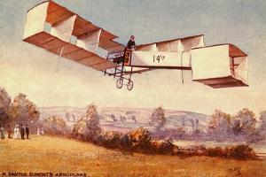 Postcard depicting the Santos-Dumont 14-bis aeroplane, c. 1910 (colour litho) by English School