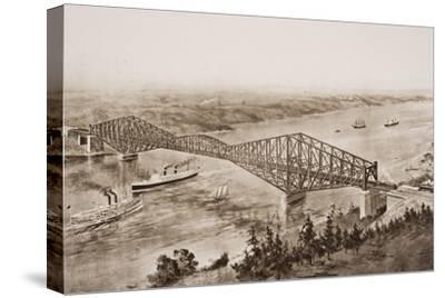 Quebec Bridge over the St. Lawrence River, Canada, Illustration from 'The Outline of History' by…