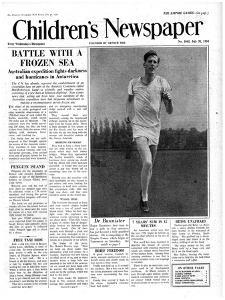 Roger Bannister, Front Page of 'The Children's Newspaper', 1954 by English School