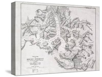 Sketch Map of Mount Everest from Surveys by Major Wheeler in 1921 with Addi
