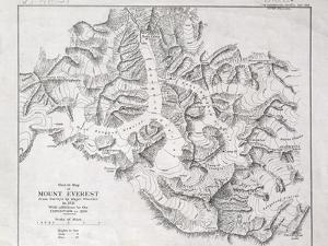 Sketch Map of Mount Everest from Surveys by Major Wheeler in 1921 with Addi by English School