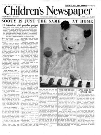 Sooty, Front Page of 'The Children's Newspaper', March 1955