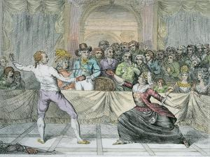 The Chevalier D'Eon, Dressed as a Woman, in a Fencing Match by English School