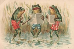 Three Frogs Singing by English School