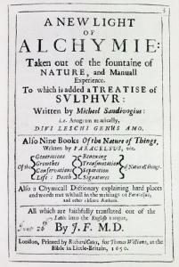 Title Page to the English Edition of 'A New Light on Alchemy' by Michal Sedziwoj, 1650 by English School