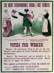 """Women's Suffrage Poster """"The Right Dishonourable Double-Face Asquith"""", C.1910 by English School"""