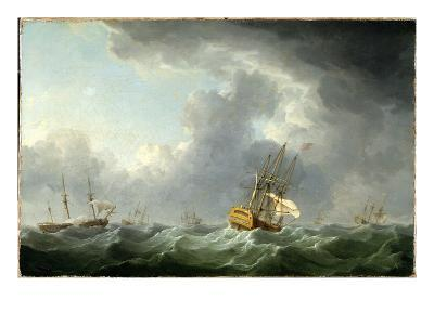 English Ships Running before a Gale-Charles Brooking-Giclee Print