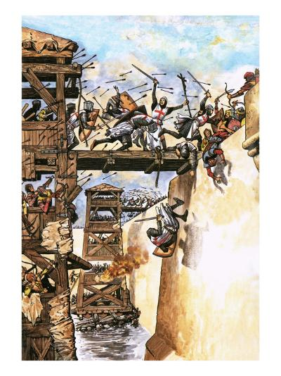English Soldiers Attacking a City During the Crusades-English School-Giclee Print
