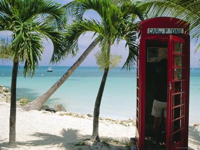 English Telephone Box on the Beach, Dickenson's Bay, North-East Coast, Antigua, West Indies-J P De Manne-Photographic Print