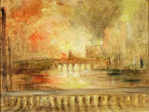 The Burning of the Houses of Parliament, Previously Attributed to J.M.W. Turner (1775-1851) by English