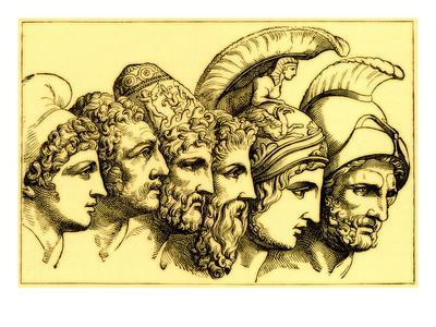 The Heroes of the Trojan War: Paris, Diomedes, Odysseus, Nestor, Achilles, Agamemnon