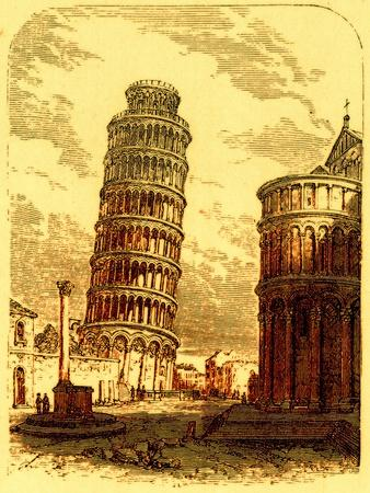 The Leaning Tower, and Apsis of the Cathedral, Pisa, Illustration from 'The World as it Is'