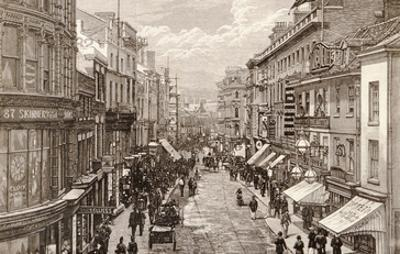 The Queen's Visit to Birmingham: the High Street, from 'The Illustrated London News' 2nd April 1887