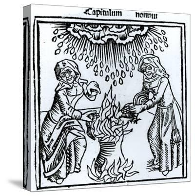 Witches Making a Spell, 1489 (Engraving) (B&W Photo)