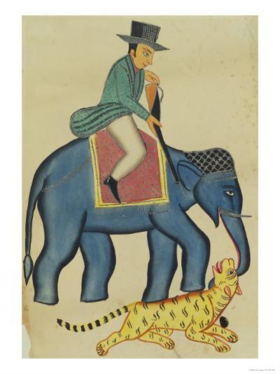 Englishman on an Elephant, India--Giclee Print