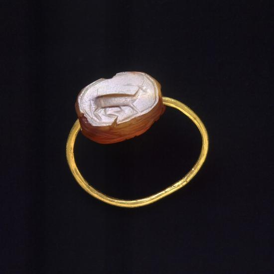 Engraved Agate and Gold Ring. Etruscan Civilization--Giclee Print