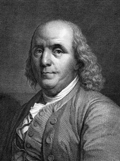 Engraved Portrait of Benjamin Franklin--Giclee Print