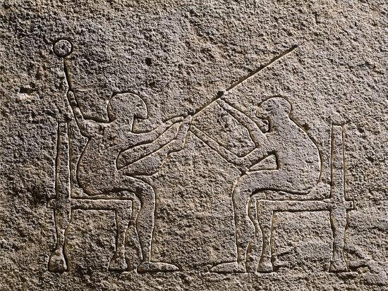 Engraved Stela Depicting Two Seated Figures, Apulia, Italy, Detail--Giclee Print