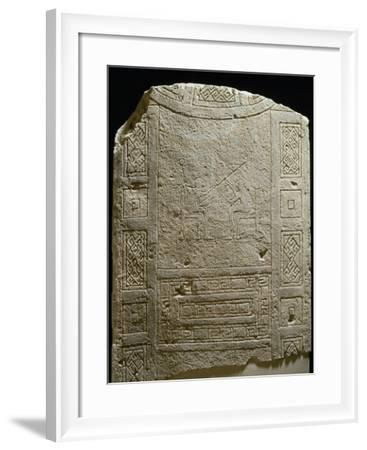 Engraved Stele Depicting Two Seated Figures, Puglia, Italy--Framed Giclee Print